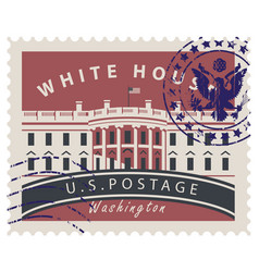 postage stamp with white house in washington dc vector image
