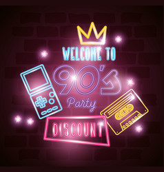 Poster welcome nineties with decoration neon vector