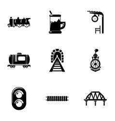 railway icons set simple style vector image