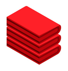 red towel stack icon isometric style vector image