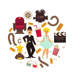 Retro cinema or movie time cinematography poster vector
