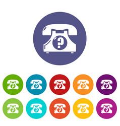 retro phone icons set color vector image