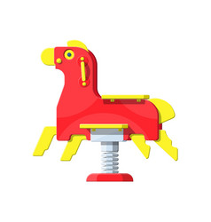 rocking horse on white horse toy on spring vector image