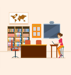 School worker class teacher workplace vector
