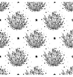 seamless pattern mystical moon with crystal vector image