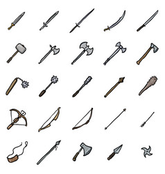 Set doodle medieval weapon icons vector