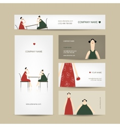 Set of business cards design friends drink tea in vector