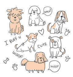 Set of cute handdrawn dogs isolated vector