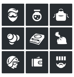 Set of Drug Dealer Labs Icons Laboratory vector