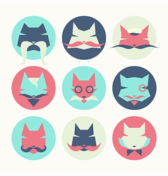 Set of stylized animal avatar bright cats vector
