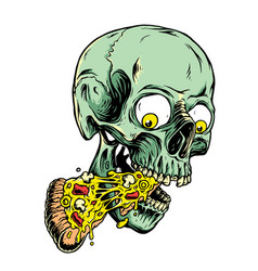 skull and pizza vector image