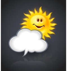 Smiling sun and cloud for vector