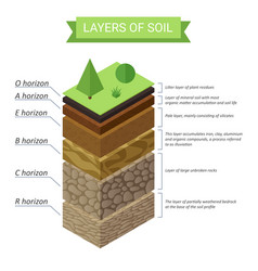 Soil layers isometric diagram underground vector