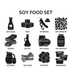 soy food silhouette icons set vector image