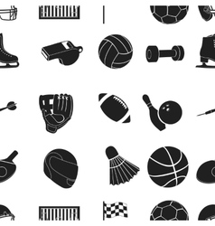 Sport and fitness pattern icons in black style vector