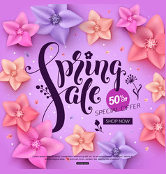 spring sale banner with colorful flowers vector image