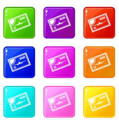 Stamp with plane and text miami inside icons 9 set vector
