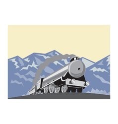 Steam Train Locomotive Mountains Retro vector image