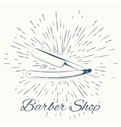 straight razor and vintage sun burst frame vector image