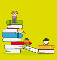 Students and books vector