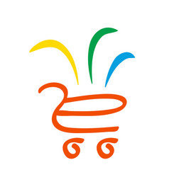 Supermarket logo store different goods in basket vector