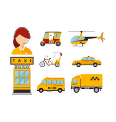 taxi cab isolated passengers vector image