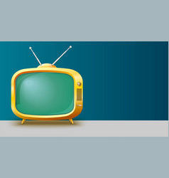 template with retro yellow tv set for vector image