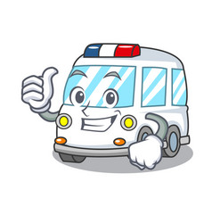 Thumbs up ambulance character cartoon style vector