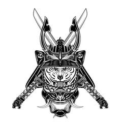 tiger samurai 0001 vector image