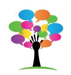 tree hand peace unity abstract logo symbol vector image