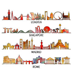 Triangular design london singapore madrid rome vector