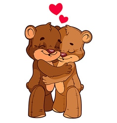 Two cute teddy bears in love vector image