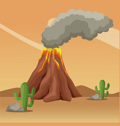 vulcan at desert landscape cartoon vector image