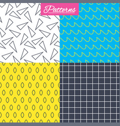 Waves triangles and squares seamless textures vector