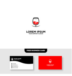 Wine lounge bar logo and business card template vector