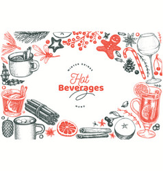 winter drinks design template hand drawn engraved vector image