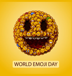 world emoji day smiley face made many small vector image