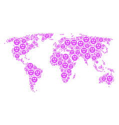 Worldwide atlas mosaic lady love smiley icons vector