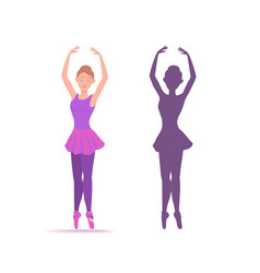 young ballerina dancing on toe in a purple dress vector image