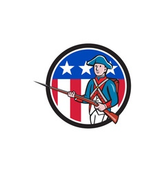 American Revolutionary Soldier USA Flag Circle vector image