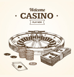 casino card or poster witch roulette wheel hand vector image vector image
