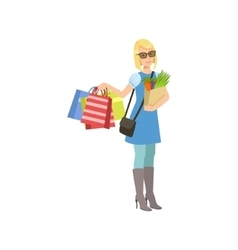 Girl With Paper Bags In Shopping Mall vector image vector image