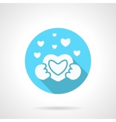 Round blue love confession flat icon vector image vector image