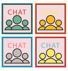 Set of mobile phone chat interface design vector