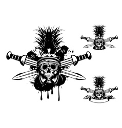 skull in helmet and crossed sword vector image vector image