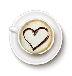 Coffee cup with a heart vector image