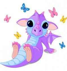 cute sitting baby dragon vector image