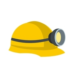 Miners helmet with lamp flat icon vector image vector image