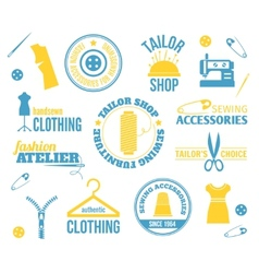 Sewing equipment labels vector image