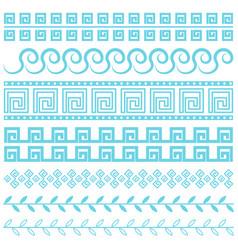 antique greek border blue line vector image